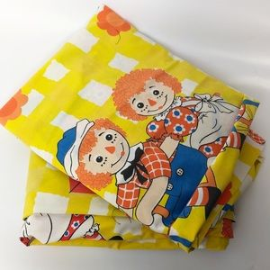 Vintage raggedy Ann and Andy twin bed sheet set
